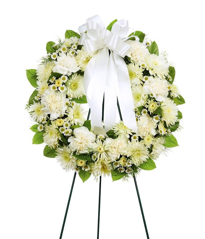 White flower open wreath standing spray