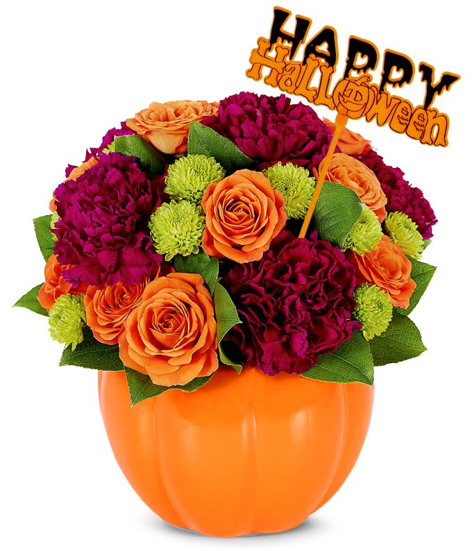 Pumpkin Vase Hallowen Floral Bouquet