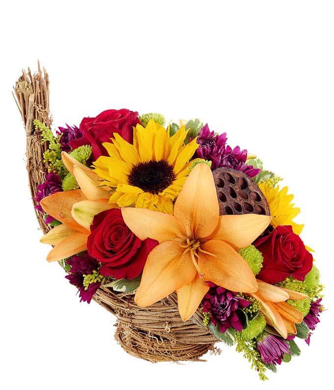 Flower Cornucopia Centerpiece