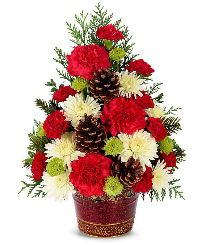 Christmas Flower Arrangements.Christmas Tree Celebration