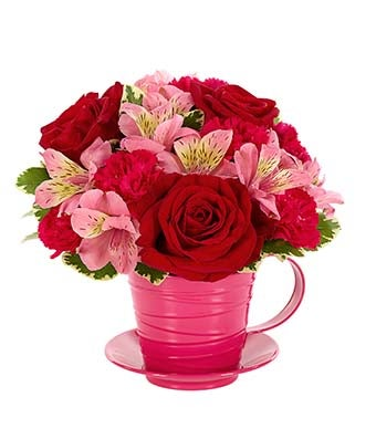 Tea Cup Red and Pink Flower Arrangement