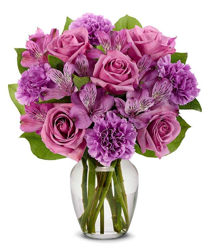 Purple roses with purple carnations and purple alstroemeria