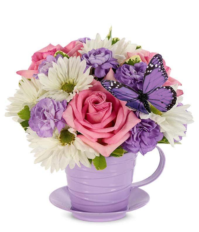 Fresh as Lavender Tea Cup Bouquet