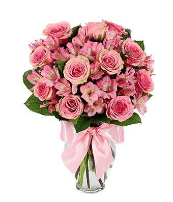 Pink roses and pink alstroemeria
