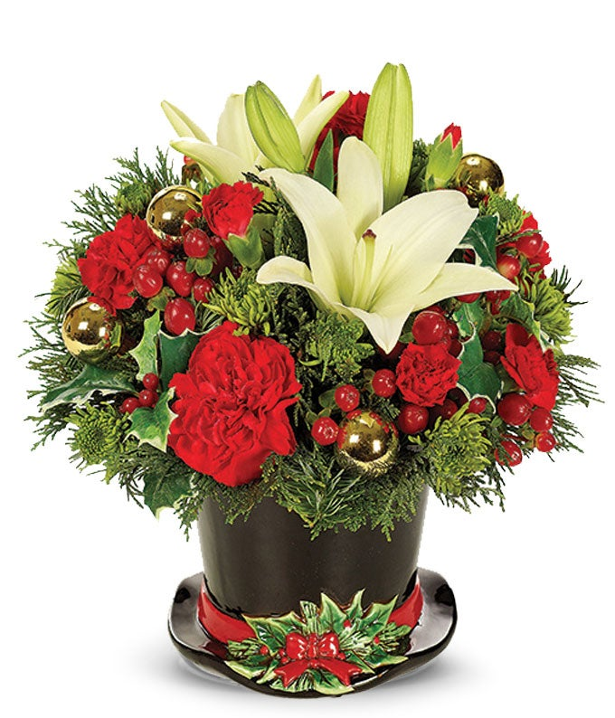 White and red Christmas flowers delivered in a holiday top hat