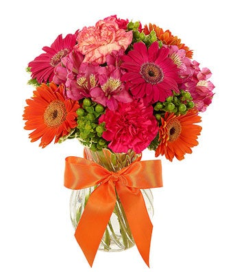 Pink and Orange Gerbera Daisies, Alstroemeria and carnations