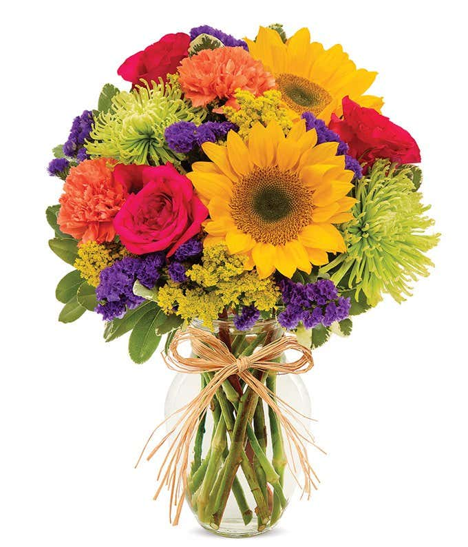 Bright sunflower bouquet at from you flowers summer sunflower mixed bouquet with pink roses and green mums mightylinksfo