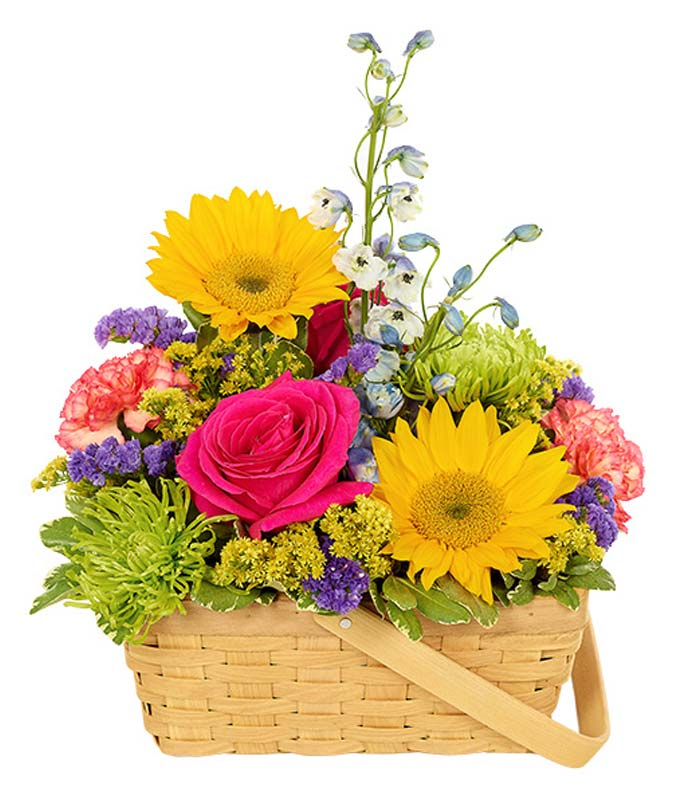 Vivid Sunflower Basket