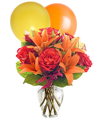 Orange roses, orange lilies and orange & yellow balloons