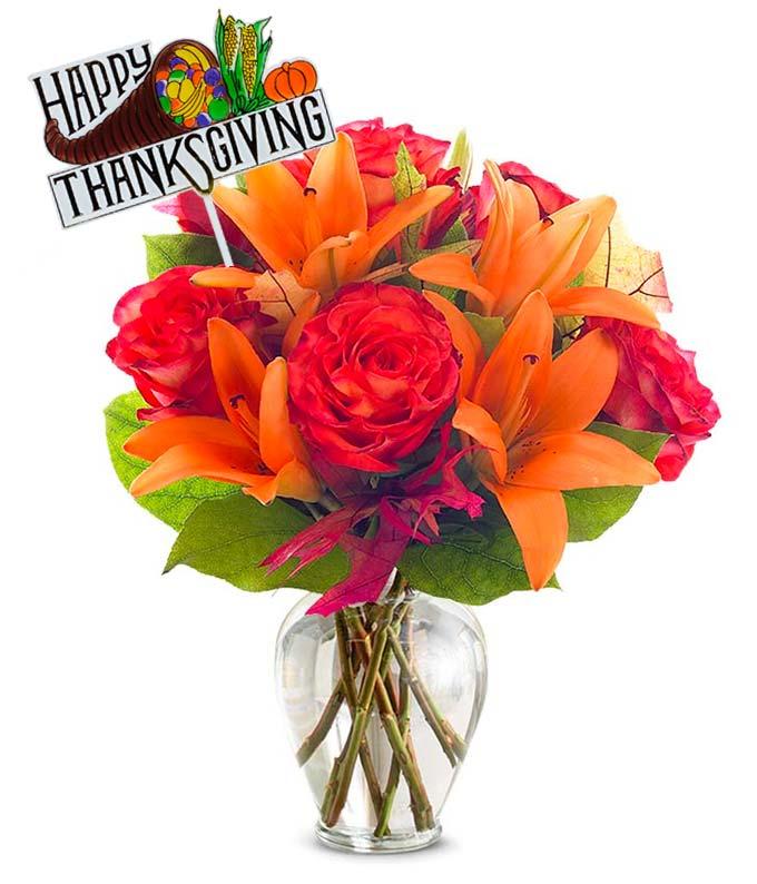 Thanksgiving Orange Flower Bouquet