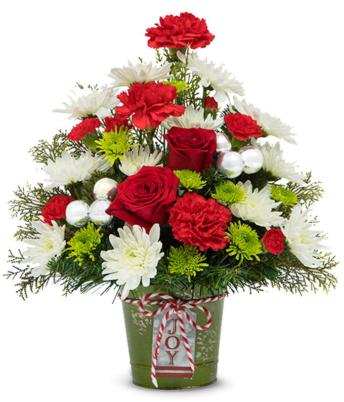 Tree shaped Christmas flower arrangement