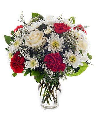 Red carnations, white roses and white spider mums