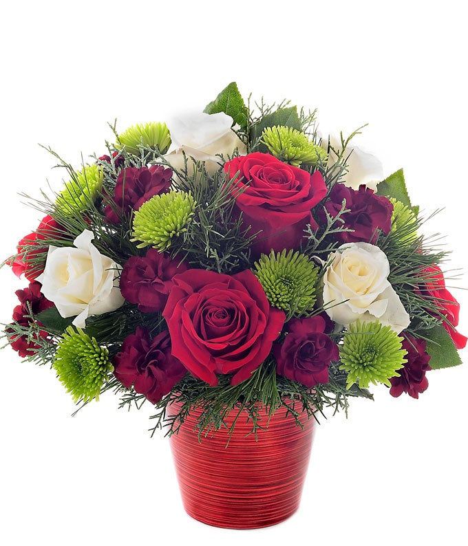 Red roses, green poms and white roses in a petite Christmas bouquet