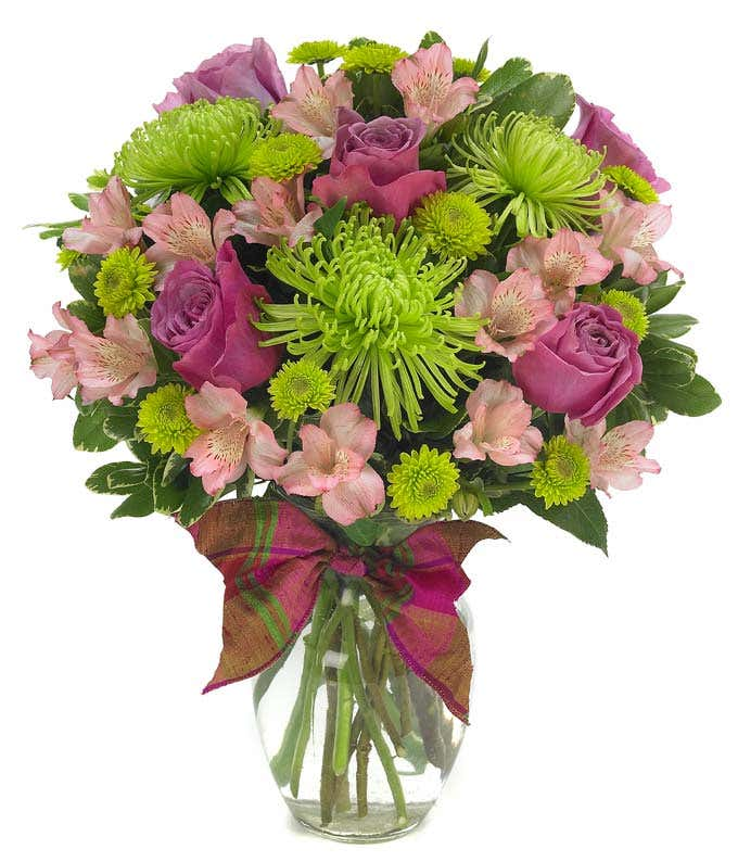 pink roses, green roses and spider mums