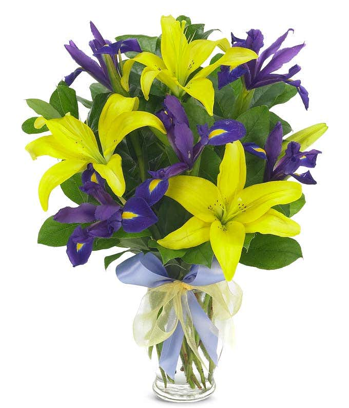 Blue Iris and Yellow lily bouquet