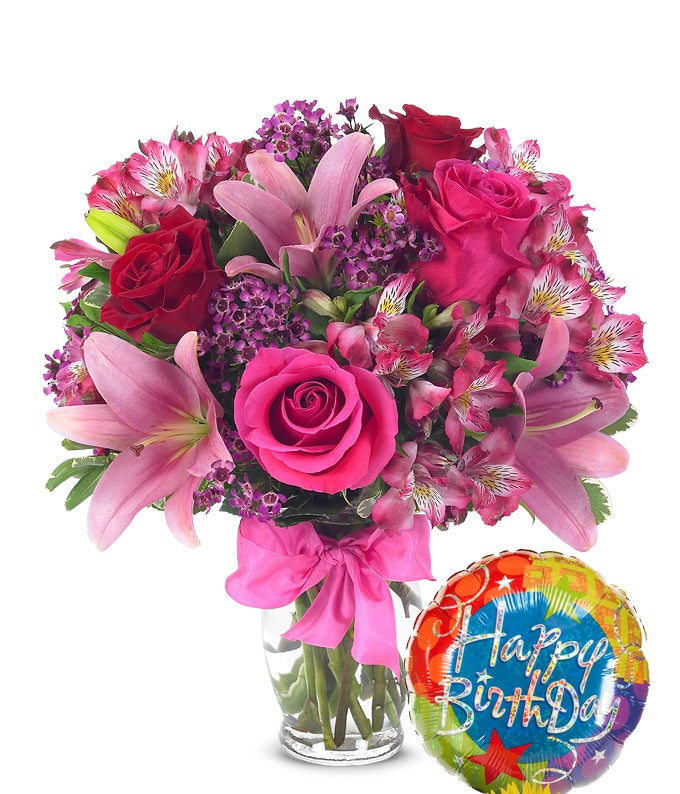 Rose Lily Celebration With Birthday Balloon Best Wishes Bouquet