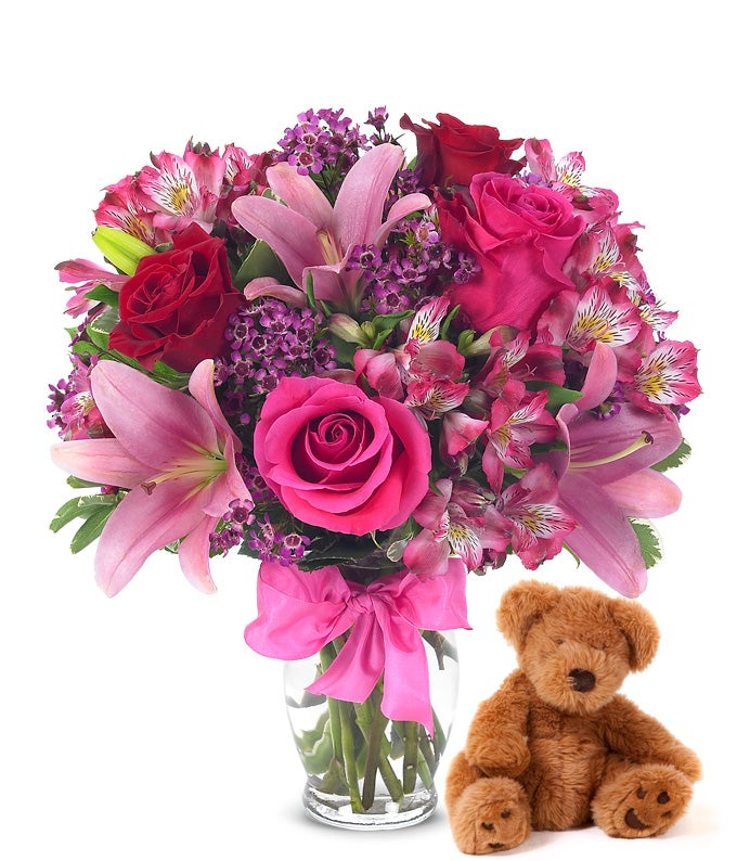 Valentine teddy bear delivered with flowers