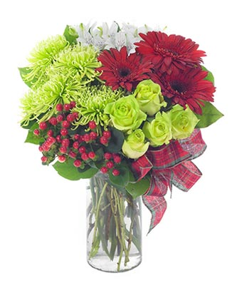 Holiday surprise bouquet with daisies & roses