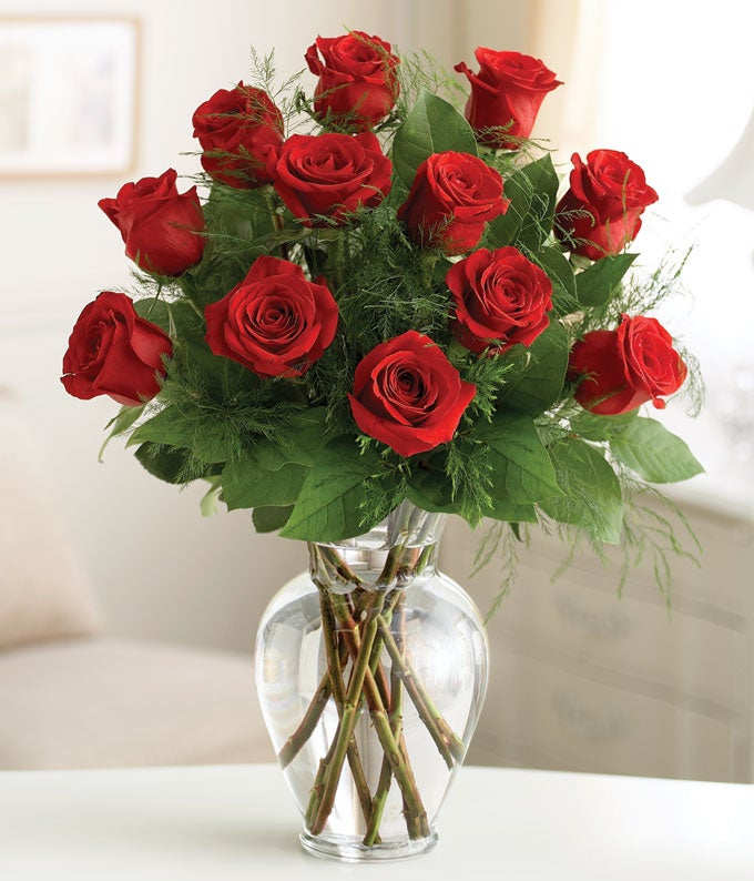 One dozen long stem red roses for delivery