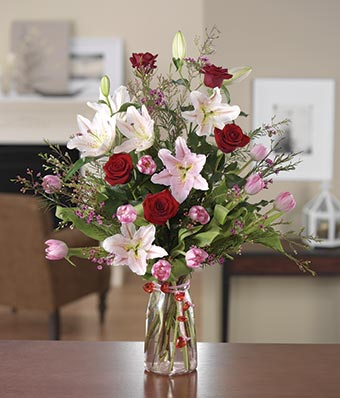 Rose and lily garden at from you flowers pink tulips purple wax flower and red rose bouquet mightylinksfo