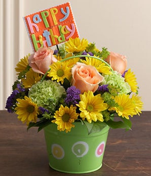 Bucket of birthday wishes at from you flowers item description m4hsunfo