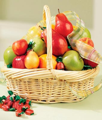 Fresh fruit basket delivered today in a basket