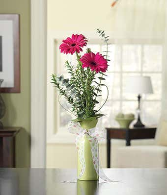 Pink Gerbera Bud Vase At From You Flowers