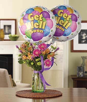 Get well balloons delivered with mixed flowers