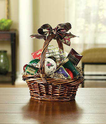 Gourmet gift basket with sausages, notes and cheese