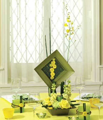 Green and yellow flower centerpiece