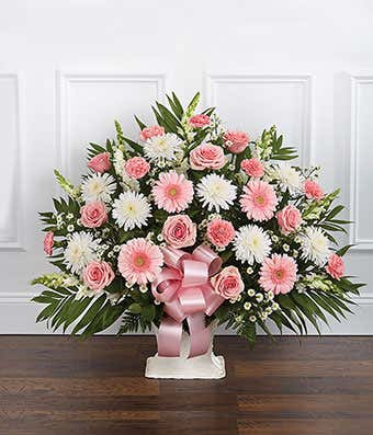 Pink white sympathy floor basket at from you flowers pink white sympathy floor basket with pink roses and white flowers mightylinksfo