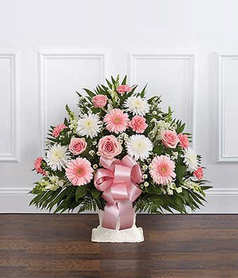 Pink White Sympathy Floor Basket At