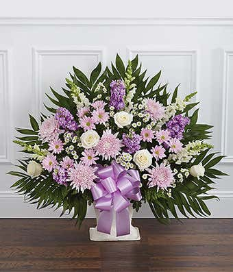 Lavender White Sympathy Floor Basket At From You Flowers