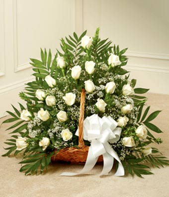 White rose fireside basket at from you flowers white rose fireside basket mightylinksfo Image collections