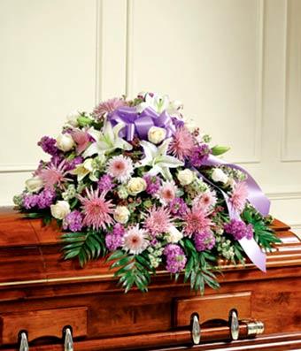 Lavender & White Half Casket Cover