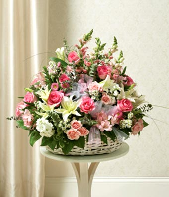 Large Sympathy Arrangement In Basket - Pink & White