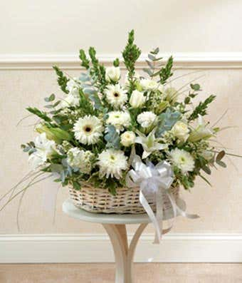 White Floral Sympathy Arrangement In Basket At From You Flowers