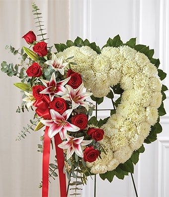Red white flower mixed standing open heart at from you flowers red white mixed standing heart mightylinksfo