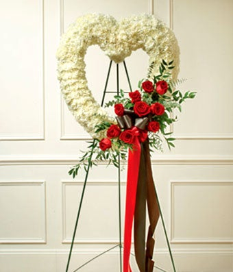 Red & White Standing Open Heart