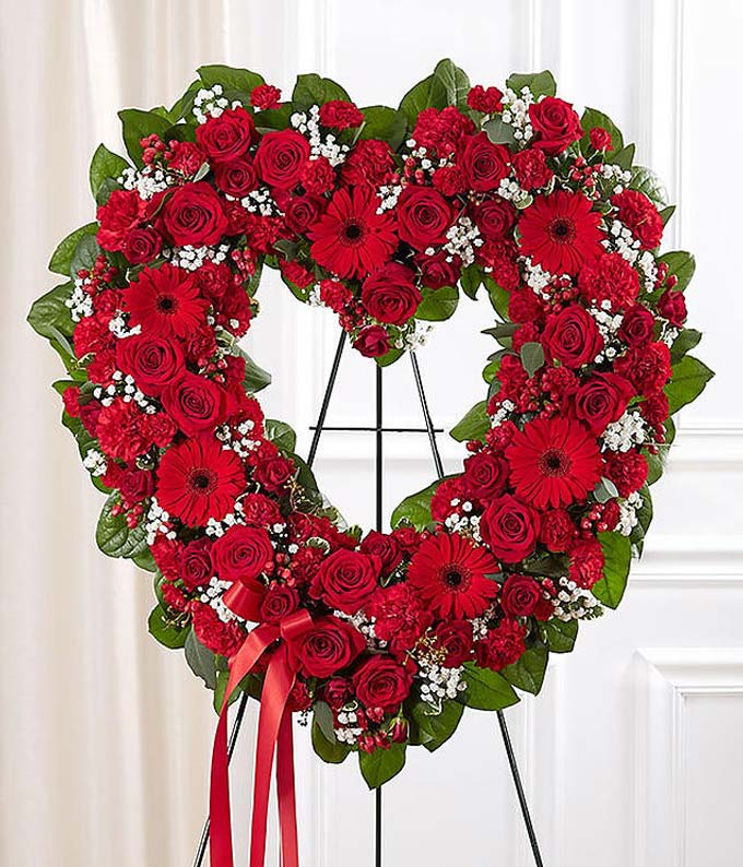 Red Mixed Standing Open Heart At From You Flowers