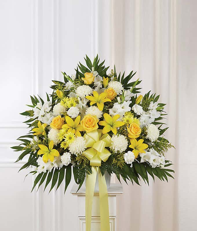 Yellow White Flower Sympathy Standing Basket At From You Flowers