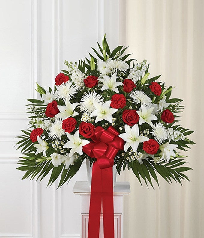 Red Amp White Sympathy Standing Basket At From You Flowers