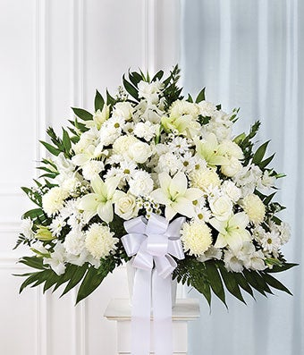 white sympathy standing baskets at from you flowers. Black Bedroom Furniture Sets. Home Design Ideas