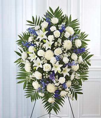 Blue & White Sympathy Standing Spray