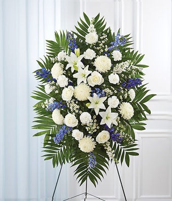 Blue White Sympathy Standing Spray At From You Flowers