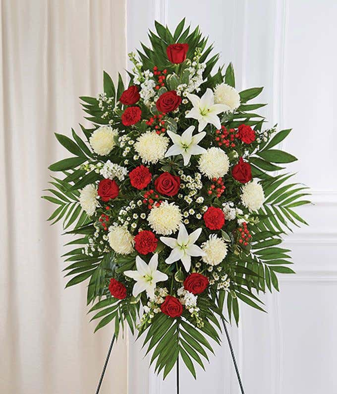 36 best flower arrangement ideas and designs for 2019.htm red   white sympathy standing spray at from you flowers  red   white sympathy standing spray at