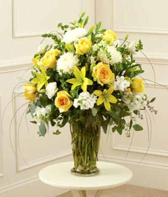 Yellow white large sympathy vase arrangement at from you flowers yellow white large sympathy vase arrangement mightylinksfo