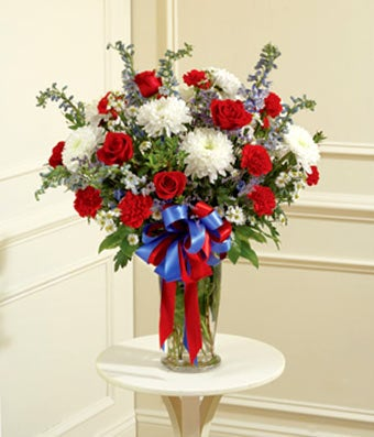 FromYouFlowers & Red White \u0026 Blue Large Sympathy Vase Arrangement