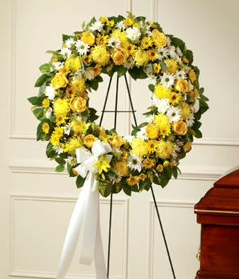 Yellow flower sympathy wreath
