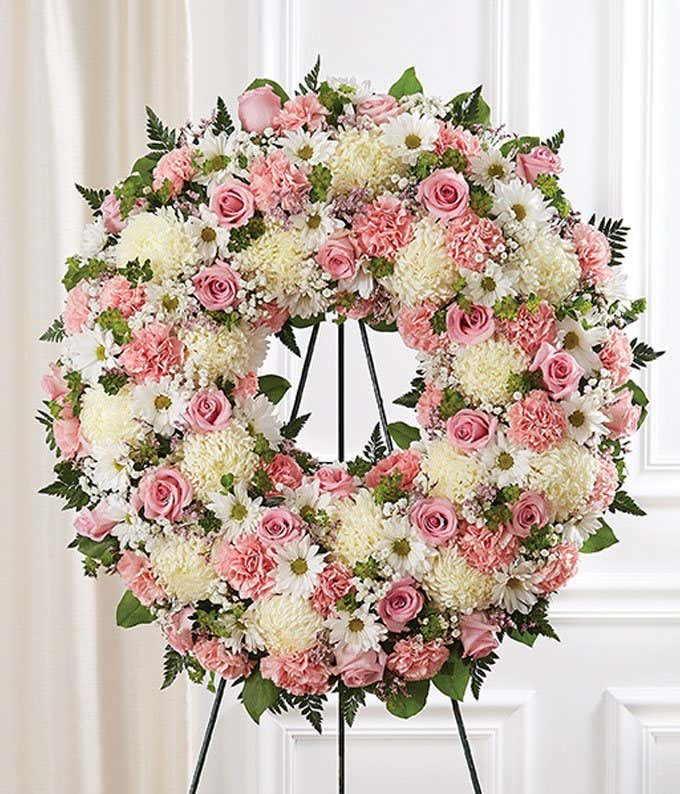 Pink White Flower Standing Wreath At From You Flowers